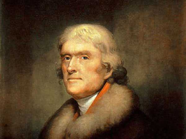 1805 Rembrandt Peale painting of Thomas Jefferson from New York Historical Society.