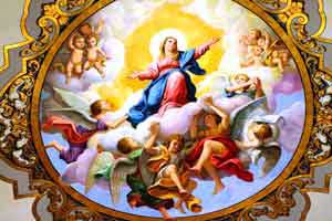 Mary rising to the heavens surrounded by Angels