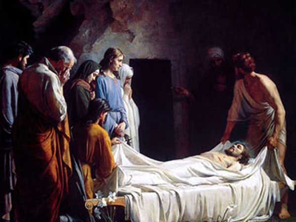 Painting by Carl Bloch – Burial of Christ with Nicodemus left and Arimathea on the right.