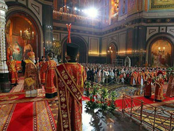 Orthodox Easter service in Cathedral of Christ the Savior in Moscow, Russia.