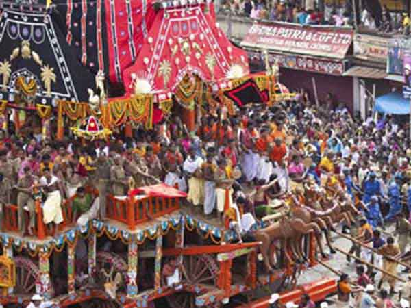 Puri Rath Yatra chariot carrying Subhadra, Balabhadra and Jagannath deities to Jagannth Temple.