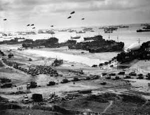 Allied forces on Normandy beach