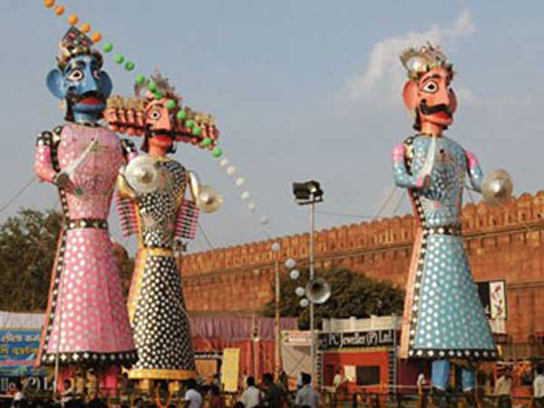 Dussehra celebrations with Lord Rama prevailing over the Demon Ravana.