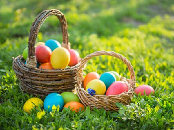 Easter baskets filled with colorful eggs.