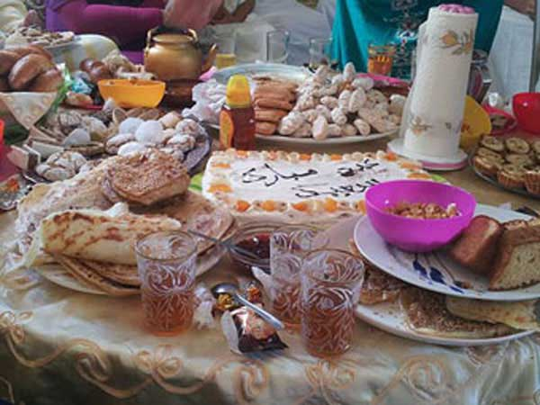 Breakfast on Eid al_Fitr with mint tea and other delights from Morocco.