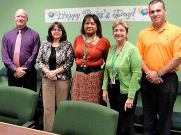Employees celebrating bosses day in October 2011.