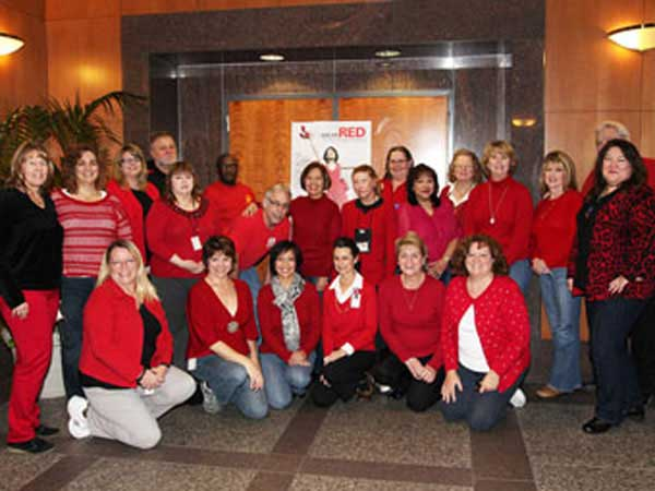 U.S. Army Corps of Engineers show support for heart health issues by wearing red for National Wear Red Day.