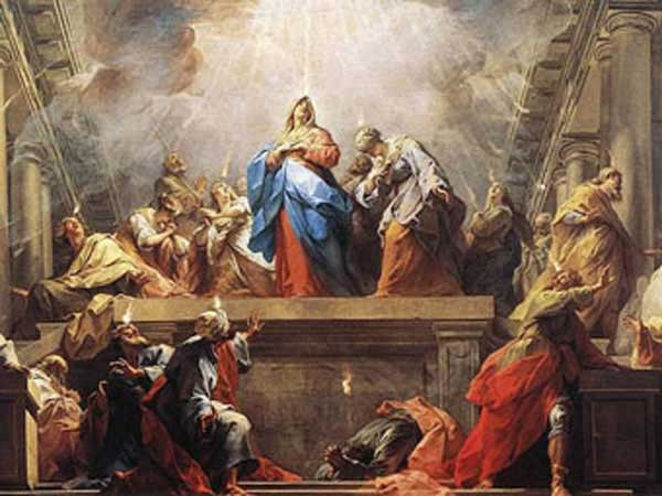 Painting by Jean II Restout of Pentecost done in 1732 currently in the Louvre Museum.