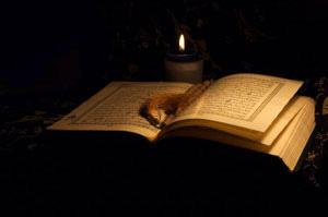 Quran with candle for reading