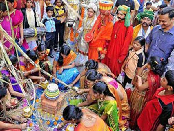 People celebrating harvest festival in Telugu and Andhra Pradesh India