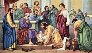 Jesus consecrating bread and wine for apostles
