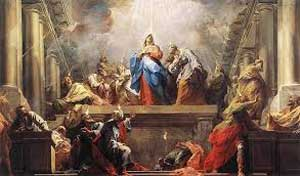 Holy spirit coming down over the apostles