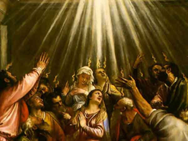 Painting of the Holy Spirit decending onto the Apostles.