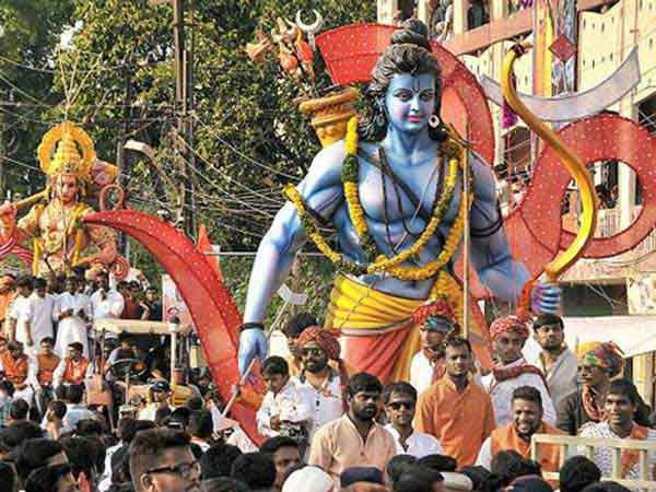 Float with Lord Rama in parade in Hyperabad India.