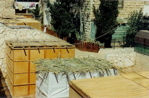 Wooden and palm sukkah's in Isreal