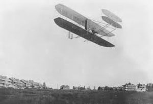 Flight of Wright Brothers in their plane
