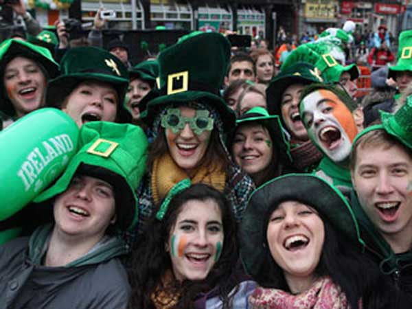 St Patricks Day celebrations on the streets in wonderful green ensemble.